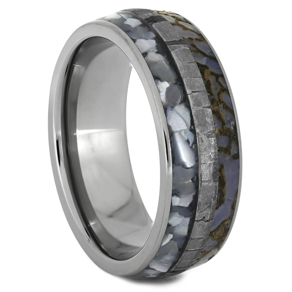 Seymchan Meteorite Wedding Band with Mother of Pearl-3674 - Jewelry by Johan