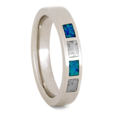 Opal Wedding Band with Partial Gibeon Meteorite, 14k White Gold Ring-3276 - Jewelry by Johan