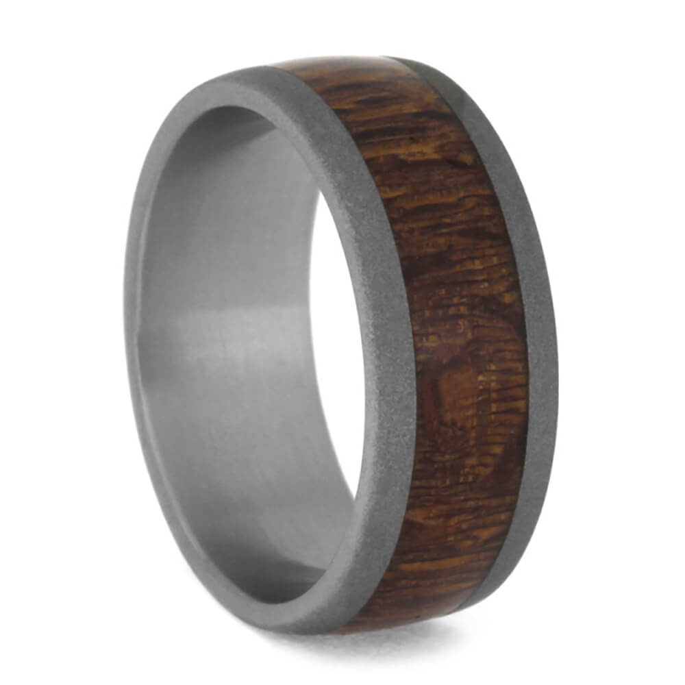Leopard Wood Wedding Band, Sandblasted Titanium Ring-3702 - Jewelry by Johan