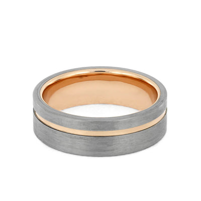 Plus Size Rose Gold Wedding Band with Brushed Titanium-3705X - Jewelry by Johan