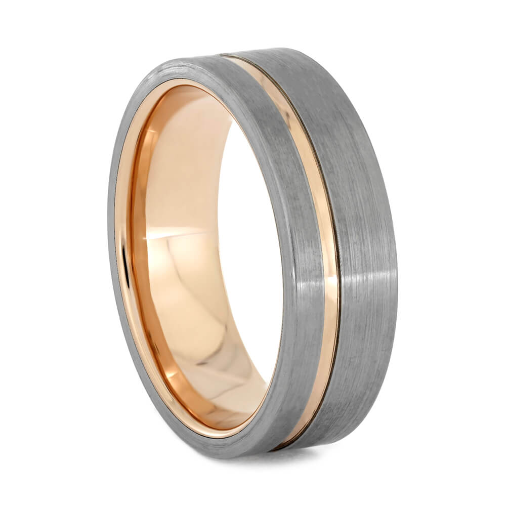 Rose Gold And Brushed Titanium Men's Wedding Band, Size 10-RS10919 - Jewelry by Johan