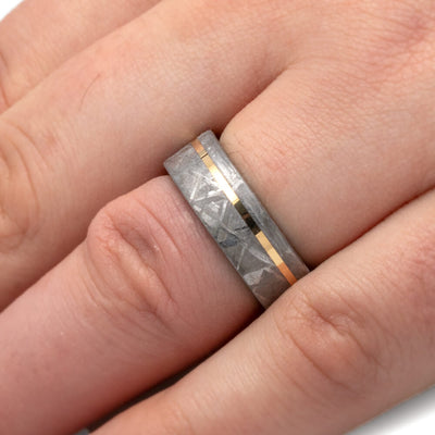 Meteorite Men's Wedding Band With Ironwood Sleeve And Yellow Gold Pinstripe-3714 - Jewelry by Johan