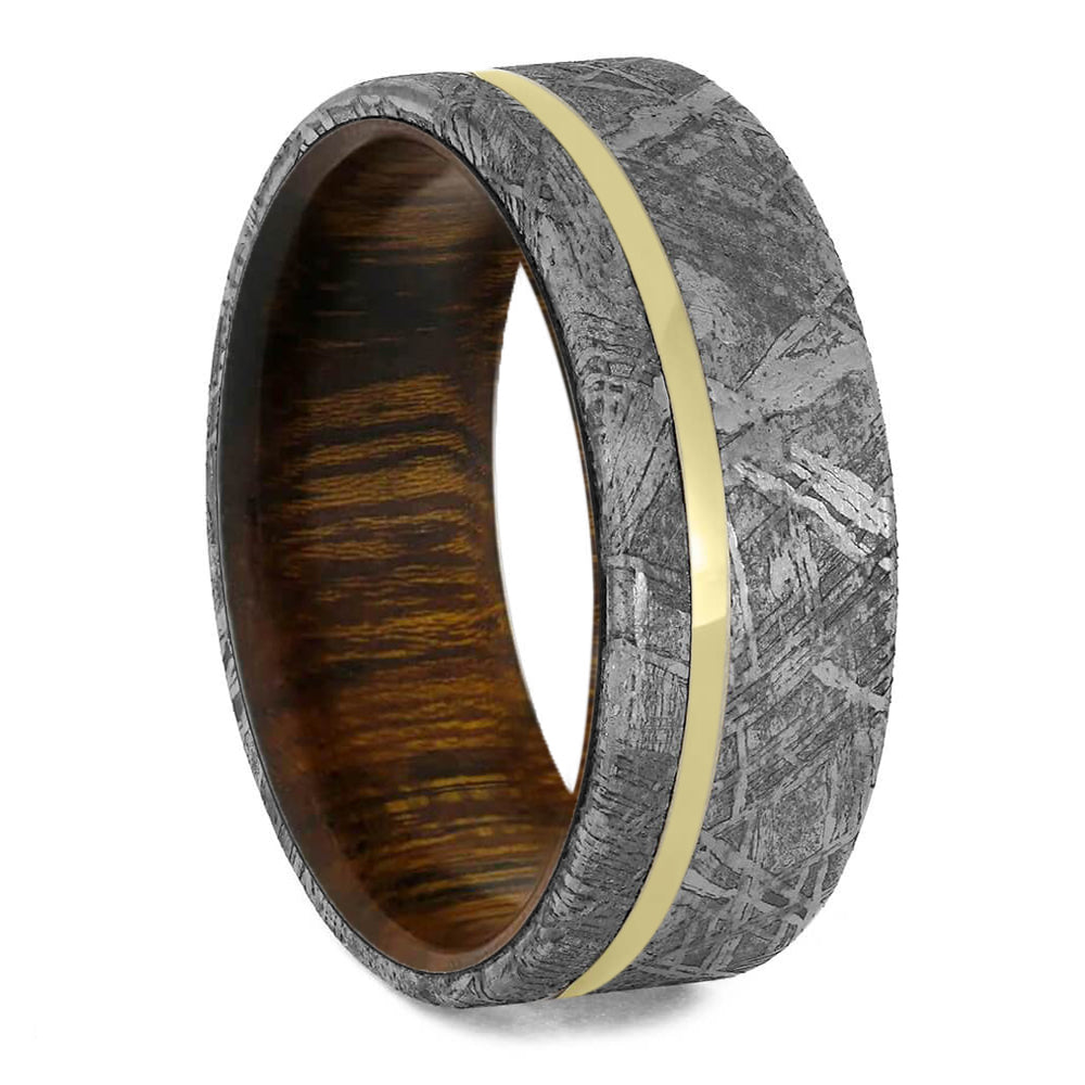 Meteorite Men's Wedding Band With Ironwood & Gold Pinstripe - Jewelry by Johan