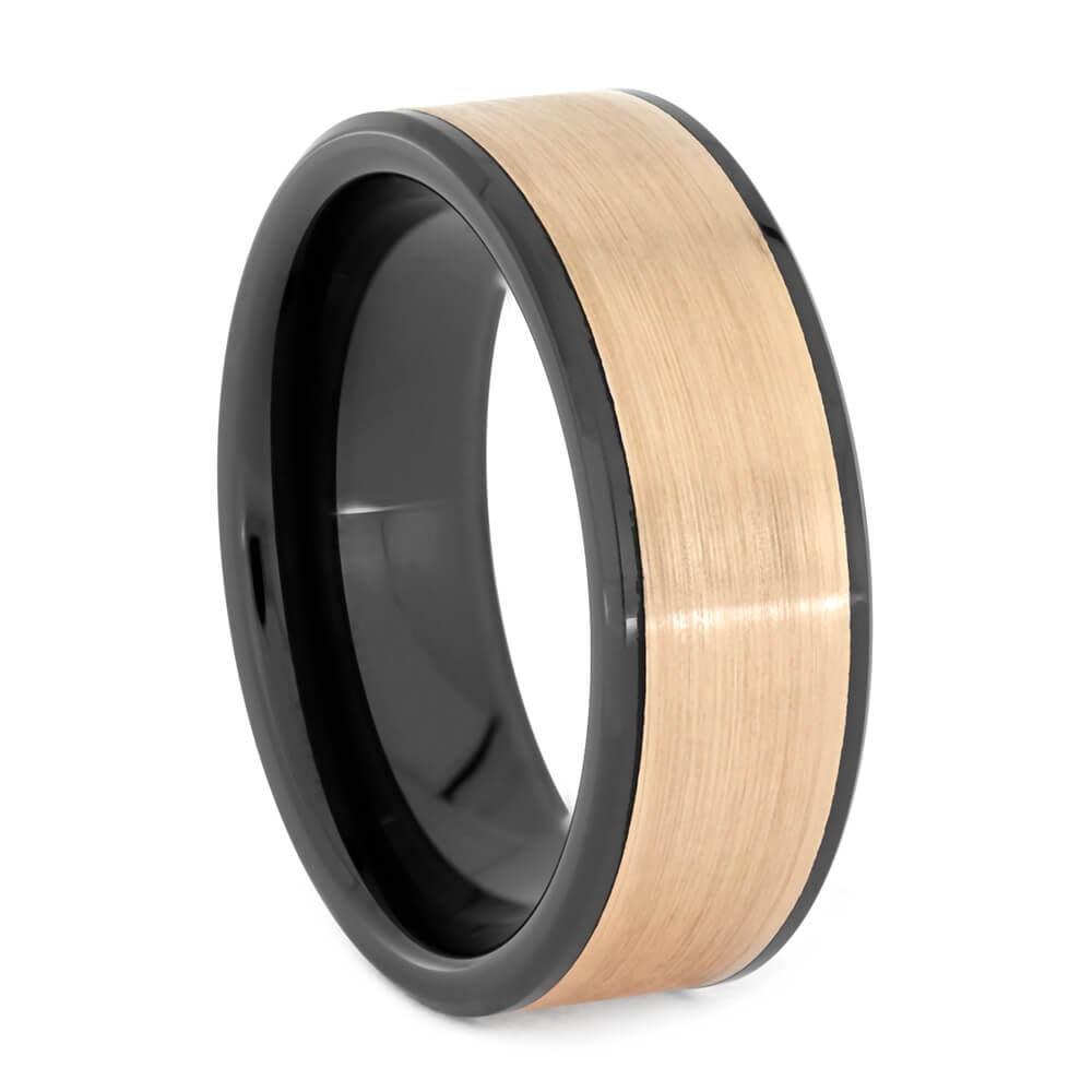 Brushed Rose Gold and Black Ceramic Wedding Band, All Metal Ring-3723 - Jewelry by Johan