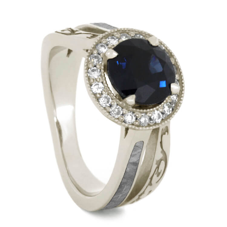 Blue Sapphire Engagement Ring with Moissanite-2210 - Jewelry by Johan