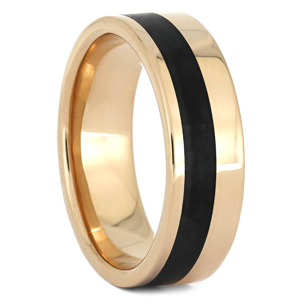 Black Obsidian Men's Wedding Band in Rose Gold-3729 - Jewelry by Johan