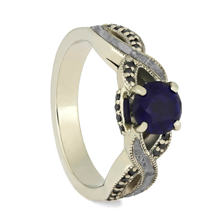 Blue Sapphire Engagement Ring With Black Diamond Accents, Meteorite Ring-3737