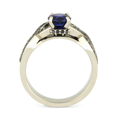 Blue Sapphire Engagement Ring With Black Diamond Accents, Meteorite Ring-3737 - Jewelry by Johan