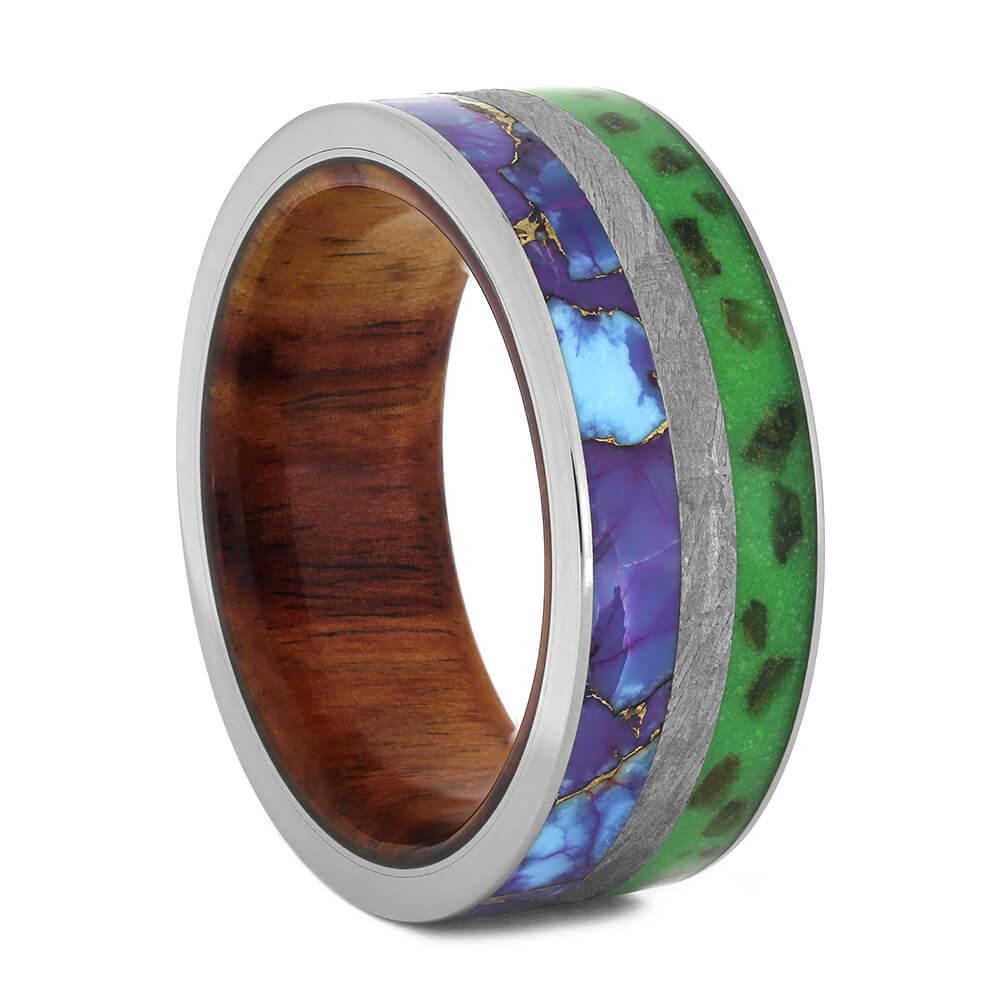 Glow in the Dark Dinosaur Bone Ring with Meteorite and Turquoise-3746 - Jewelry by Johan