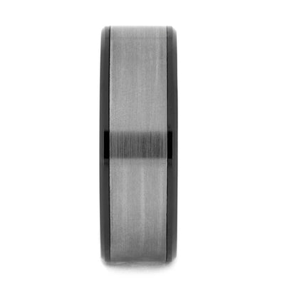 Black Ceramic Wedding Band with Brushed Titanium Inlay, All Metal Ring-3759 - Jewelry by Johan