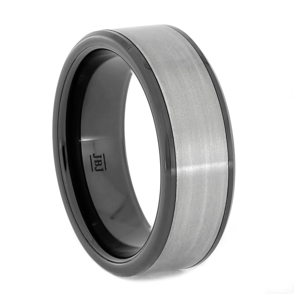 Black Ceramic Wedding Band with Brushed Titanium Inlay, All Metal Ring