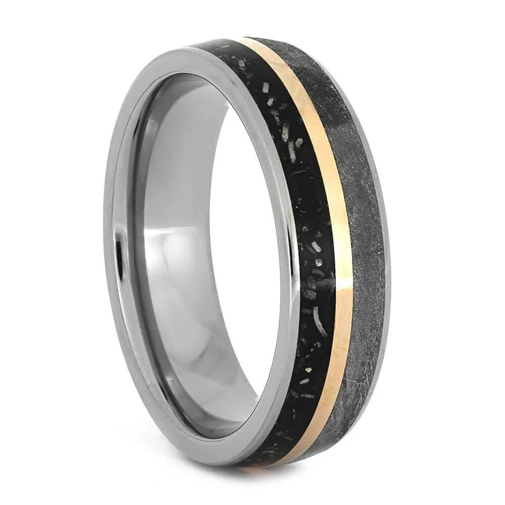 Black Stardust™ Wedding Band with Rose Gold and Meteorite-3766 - Jewelry by Johan
