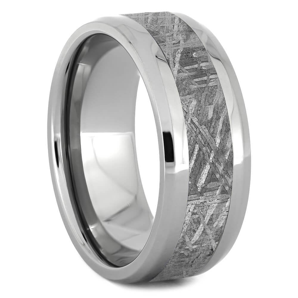 Gibeon Meteorite Wedding Band With Beveled Edges