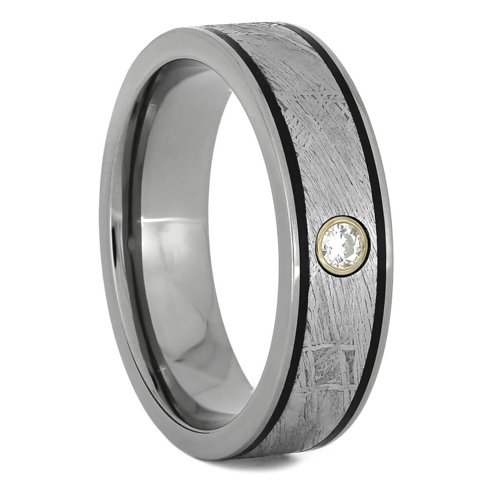 Authentic Meteorite Wedding Band with Moissanite