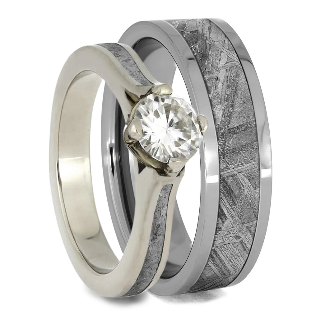Meteorite Wedding Ring Set