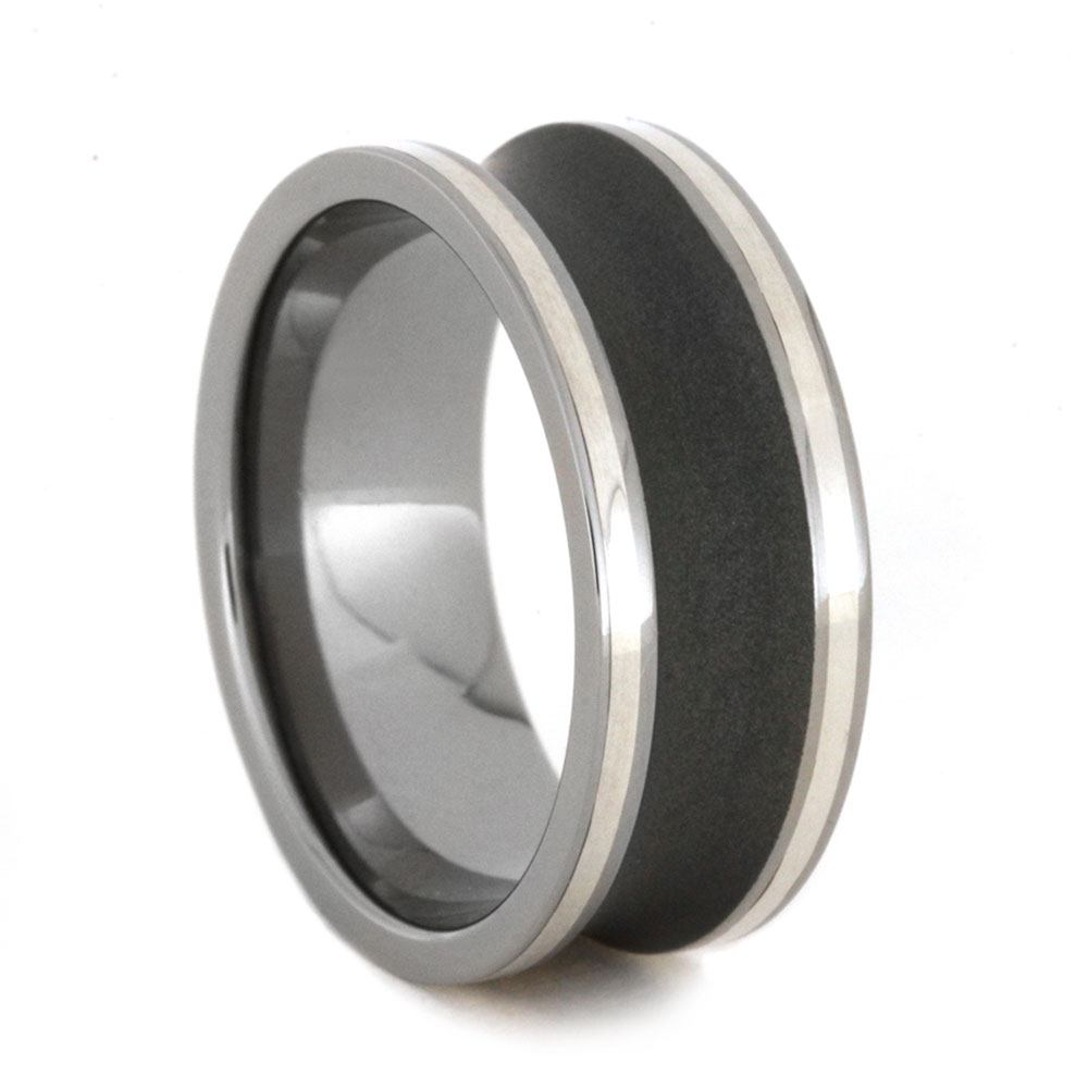 Sandblasted Titanium Ring With Sterling Silver Pinstripes, Size 9.75-RS9137 - Jewelry by Johan
