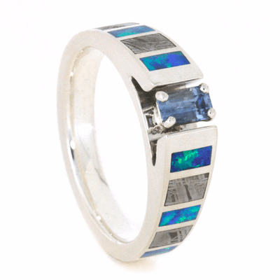Aquamarine Engagement Ring With Meteorite & Opal Inlays