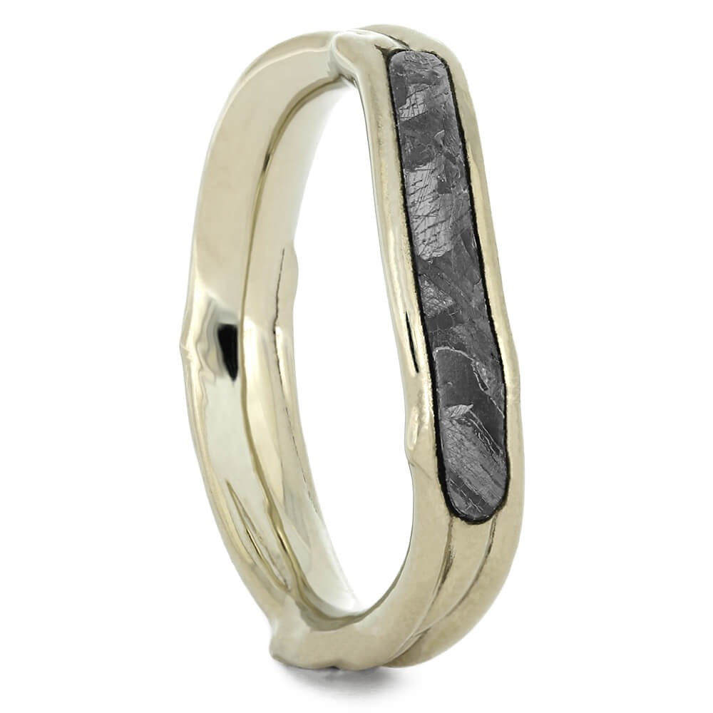 Meteorite Shadow Band with White Gold Branch Design-3783 - Jewelry by Johan
