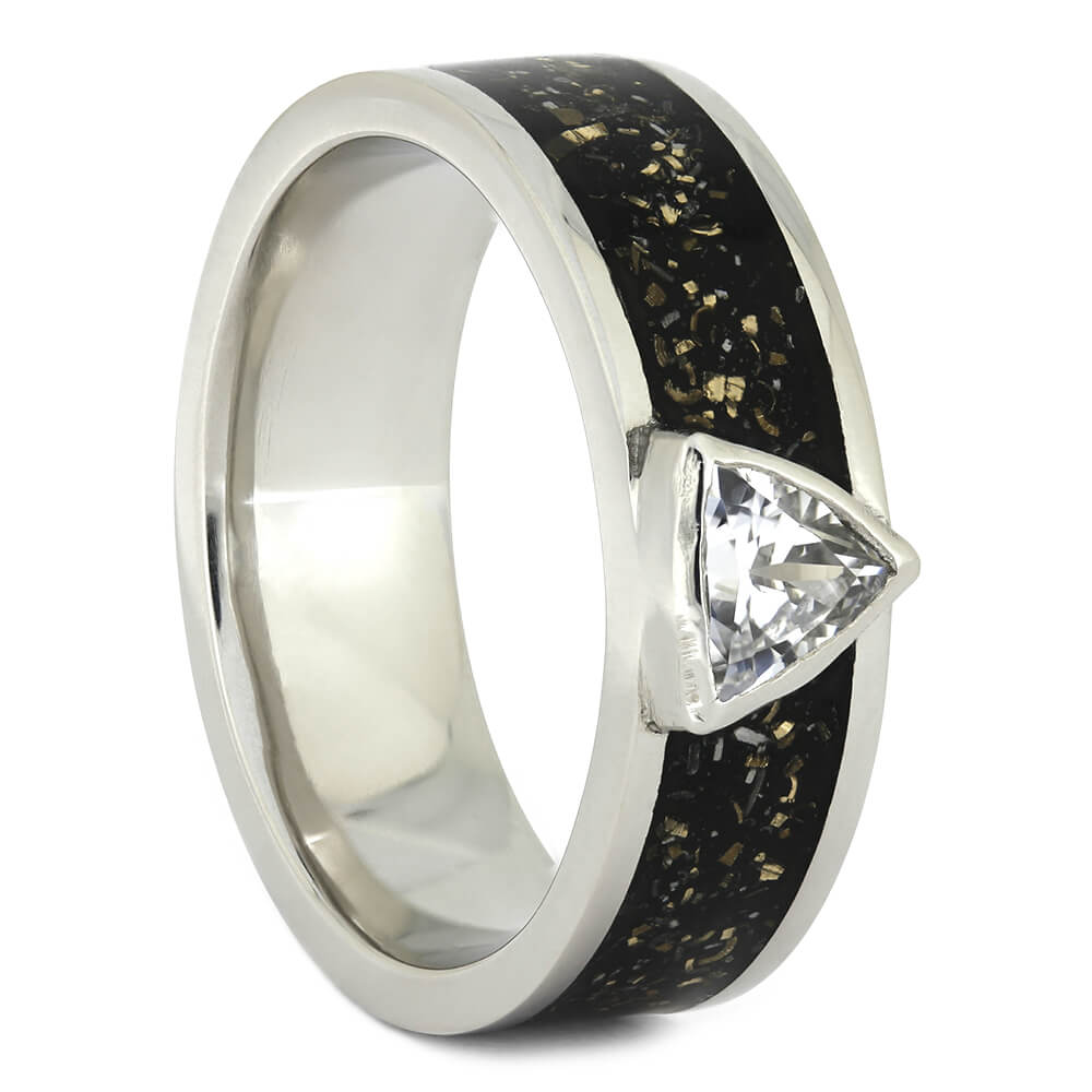 Trillion Cut White Sapphire Engagement Ring with Black Stardust™-3786 - Jewelry by Johan