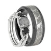 His and Hers Meteorite Wedding Ring Set With Black Accents-3789 - Jewelry by Johan