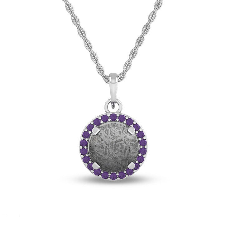 February Birthstone Pendant With Meteorite And Purple Amethyst On 14k White Gold Necklace-1678 - Jewelry by Johan
