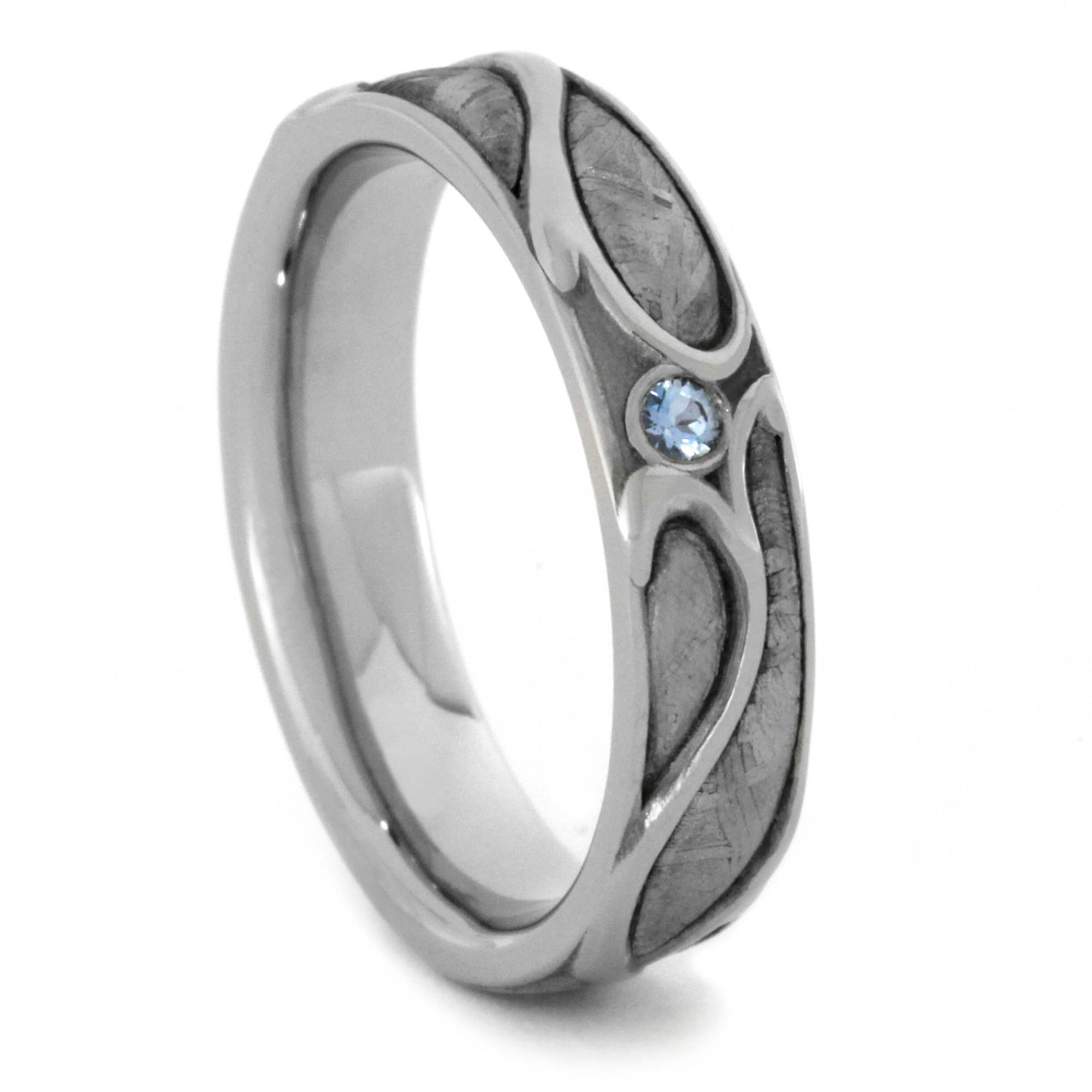 Aquamarine Wedding Ring, Meteorite Ring in Art Nouveau Design