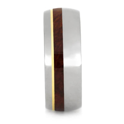 Titanium Ring with Amboyna Burl Inlays and a 14k Yellow Gold Pinstripe-1208 - Jewelry by Johan