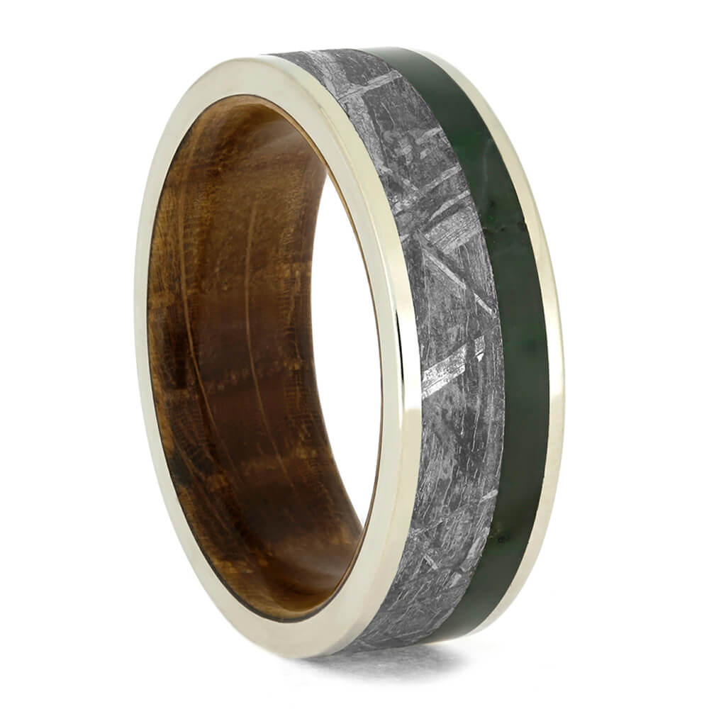 Gibeon Meteorite Ring With Green Jade, Whiskey Barrel Wedding Band-3824 - Jewelry by Johan