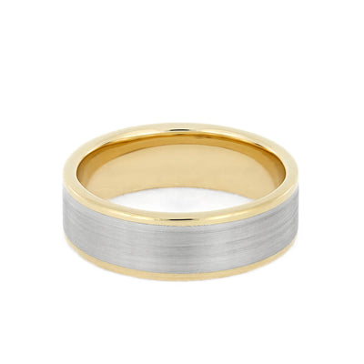 white gold and yellow gold wedding band with brushed finish