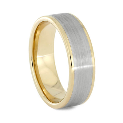 Yellow Gold Wedding Band with Brushed White Gold Accent, All Metal Ring