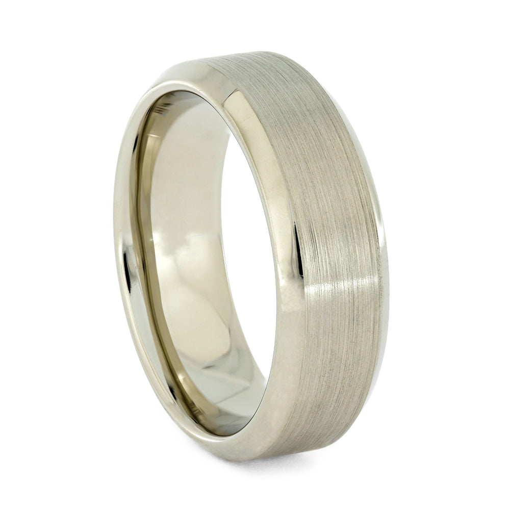 Multi-Finish White Gold Wedding Band, All Metal Ring