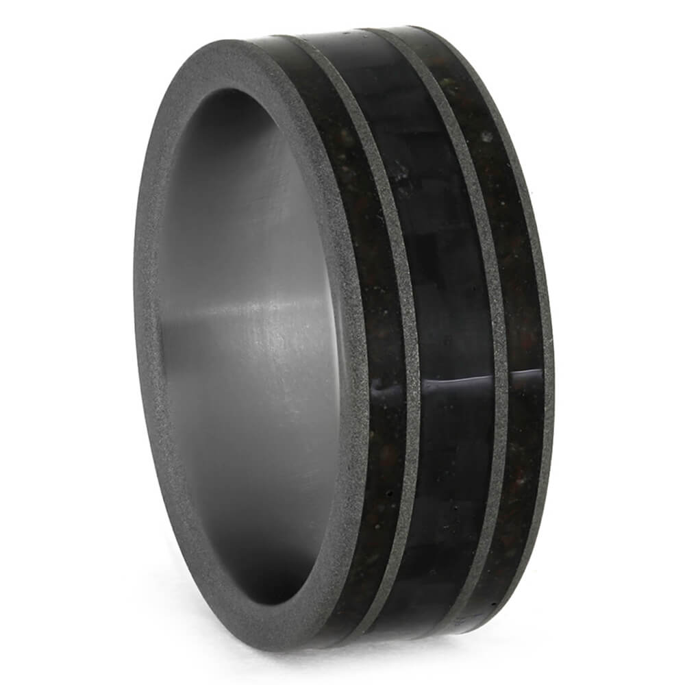 Carbon Fiber Wedding Band with Crushed Dinosaur Bone-3840 - Jewelry by Johan