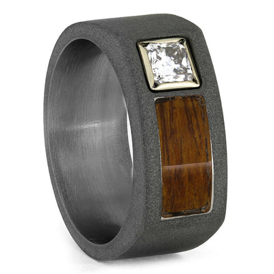 Wood Ring, Ironwood Diamond Wedding Band for Men, 14k White Gold-3842 - Jewelry by Johan
