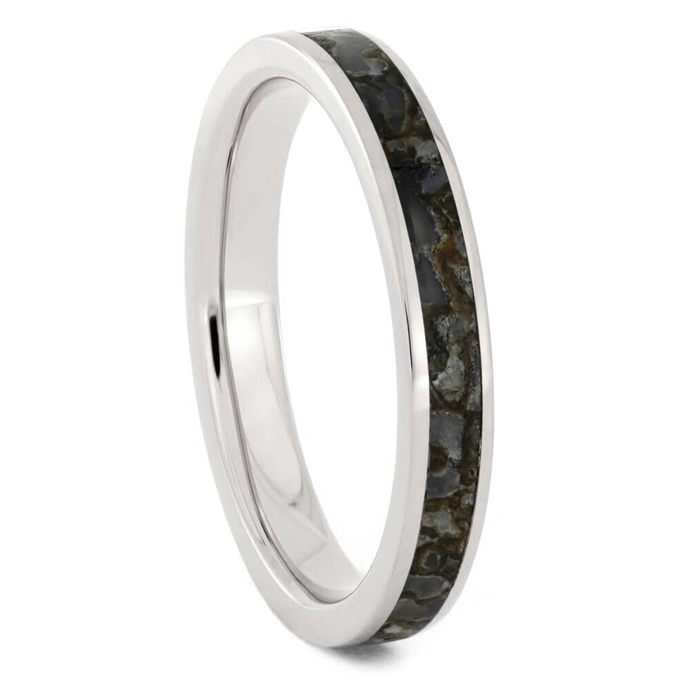 Thin Dinosaur Bone Ring In Titanium-3844 - Jewelry by Johan