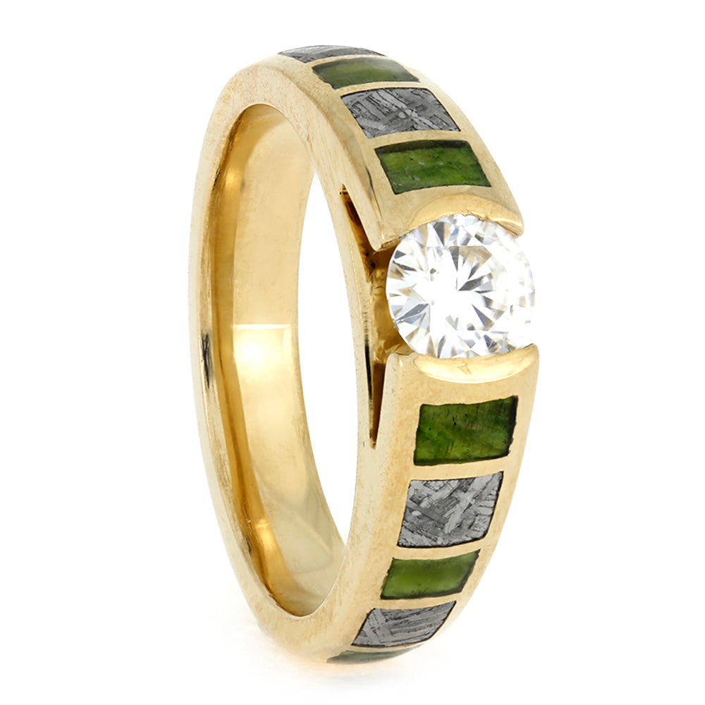 Cathedral Engagement Ring, 14k Yellow Gold Meteorite and Green Wood Ring-3850 - Jewelry by Johan