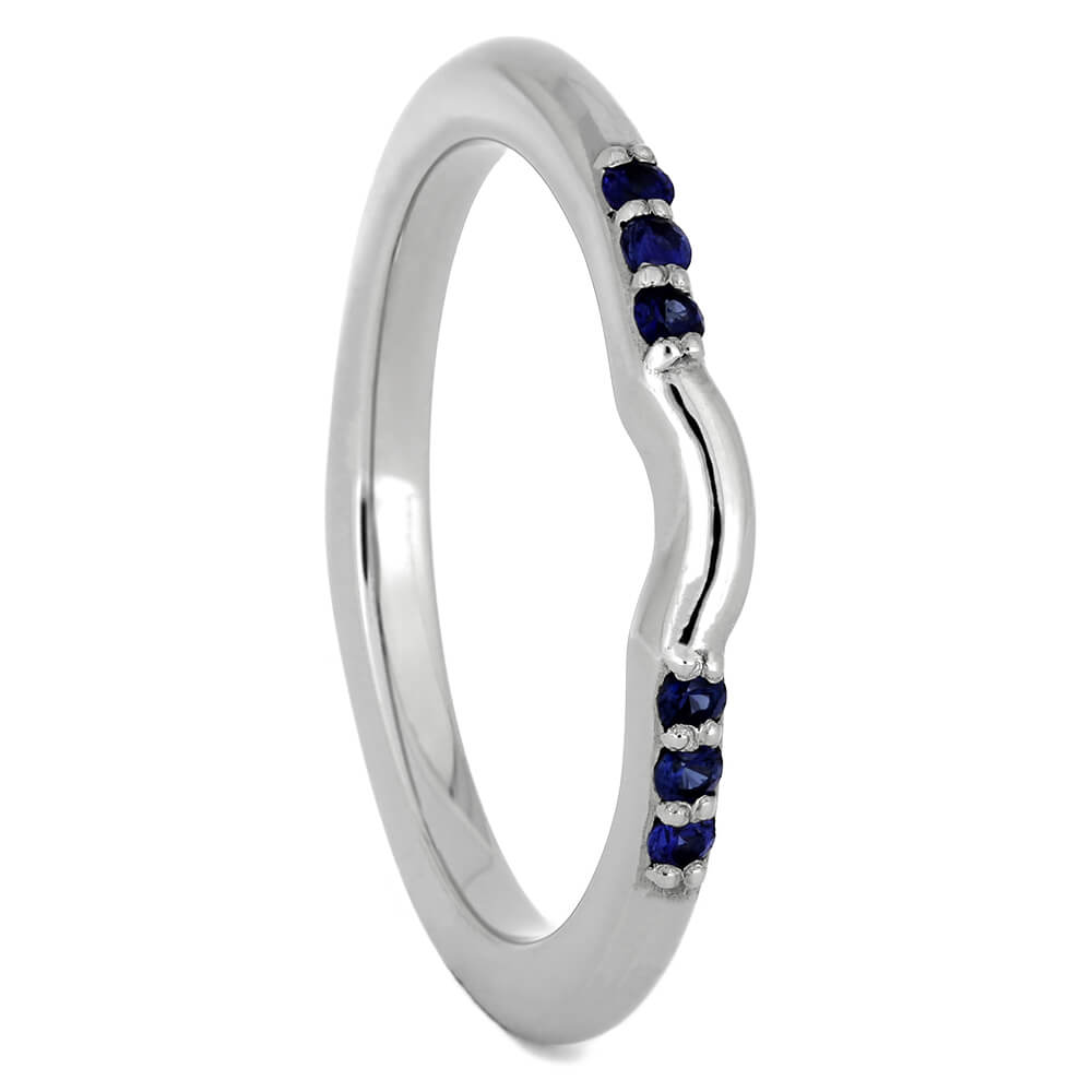 Platinum Shadow Band with Blue Sapphires-3851 - Jewelry by Johan