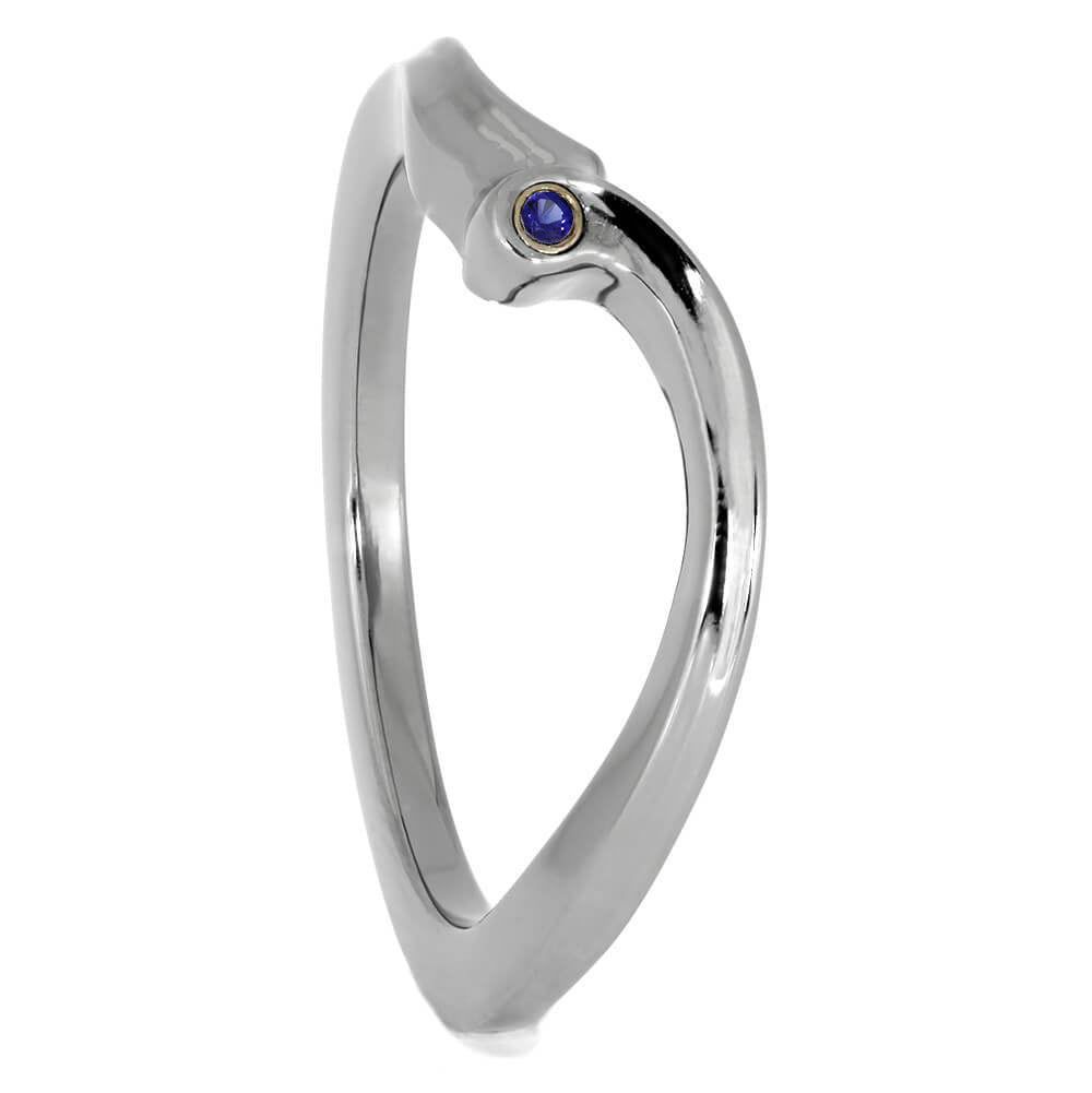 Blue Sapphire Wedding Band in Titanium-3855 - Jewelry by Johan