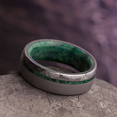 Sandblasted Men's Wedding Band With Green Box Elder Wood And Meteorite-3858 - Jewelry by Johan