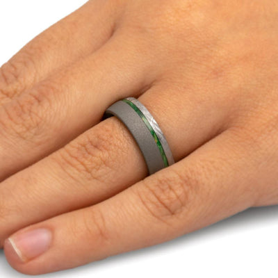 Sandblasted Men's Wedding Band With Green Box Elder Wood And Meteorite