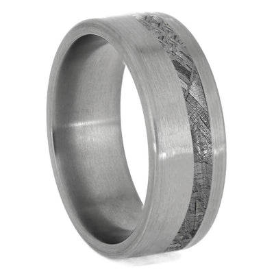 Rugged Men's Meteorite Wedding Band With Brushed Titanium-3866 - Jewelry by Johan