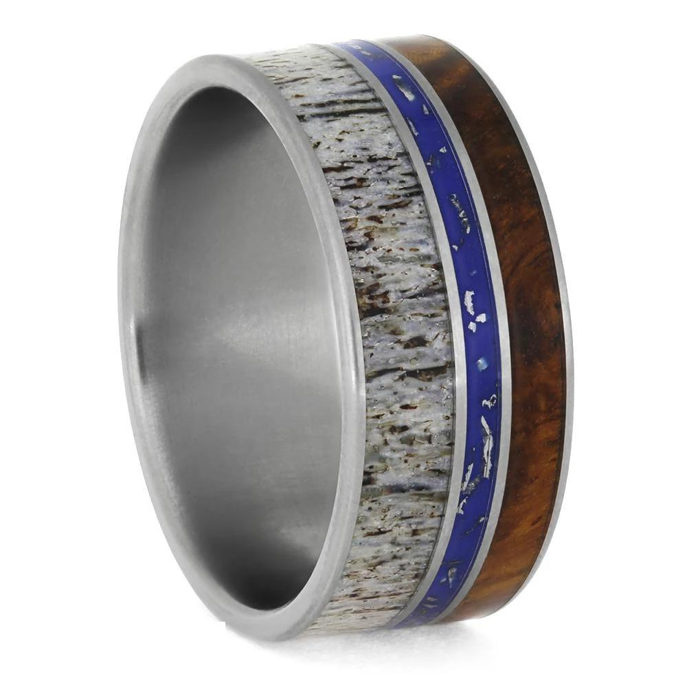 Antler And Stardust™ Men's Wedding Band With Amboyna Wood-3873 - Jewelry by Johan