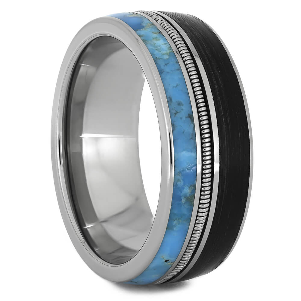 Vinyl Record Ring with Guitar String and Turquoise-3886 - Jewelry by Johan