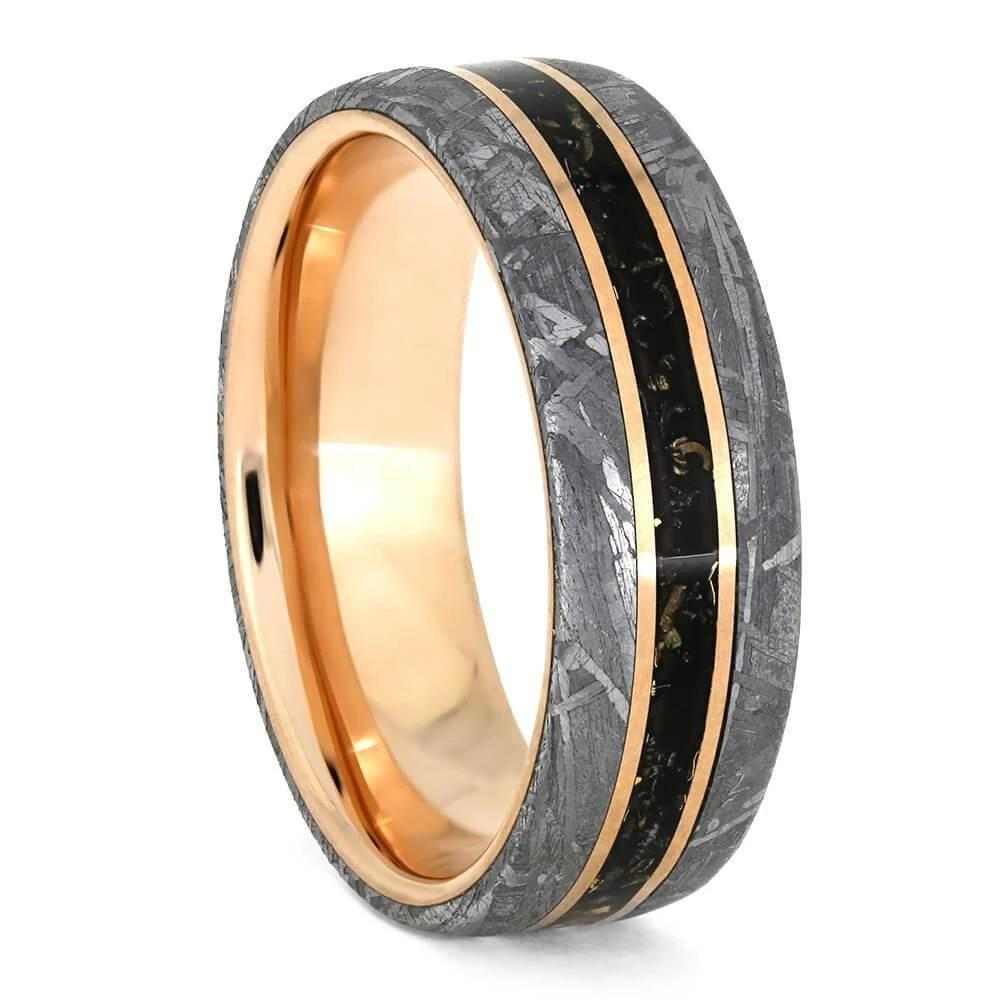 Rose Gold and Meteorite Wedding Band with Black Stardust
