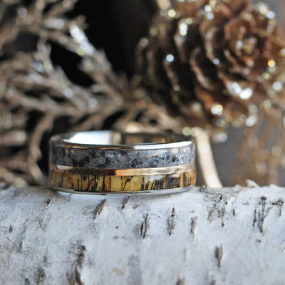 Concrete Ring With Tamarind Wood And Copper, Titanium Wedding Band-3568 - Jewelry by Johan