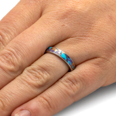Lava Mosaic Turquoise Ring, Titanium Wedding Band With Unique Stone Inlay-3894 - Jewelry by Johan