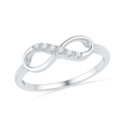 Sterling Silver Infinity Ring With Diamond Accent