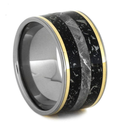 Thick Men's Wedding Band With Meteorite