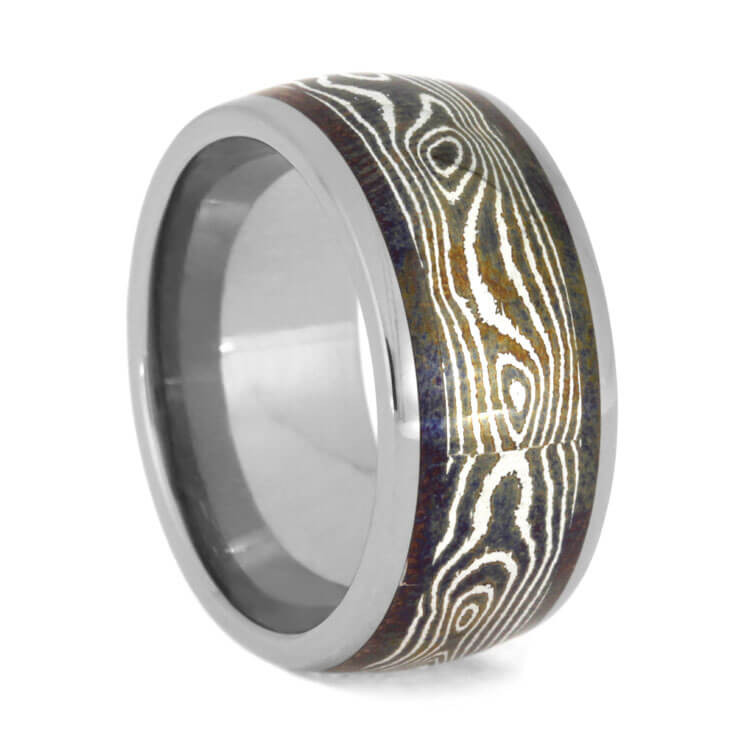 Thick Titanium Wedding Band With Copper Silver Mokume, Size 8.5-RS9943 - Jewelry by Johan