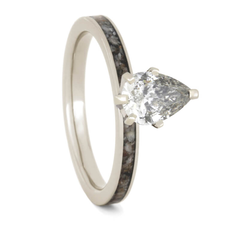 Moissanite Antler Engagement Ring In White Gold