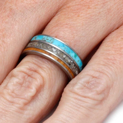 Memorial Jewelry, Turquoise Ring With Pet Ashes & Olive Wood-2797 - Jewelry by Johan